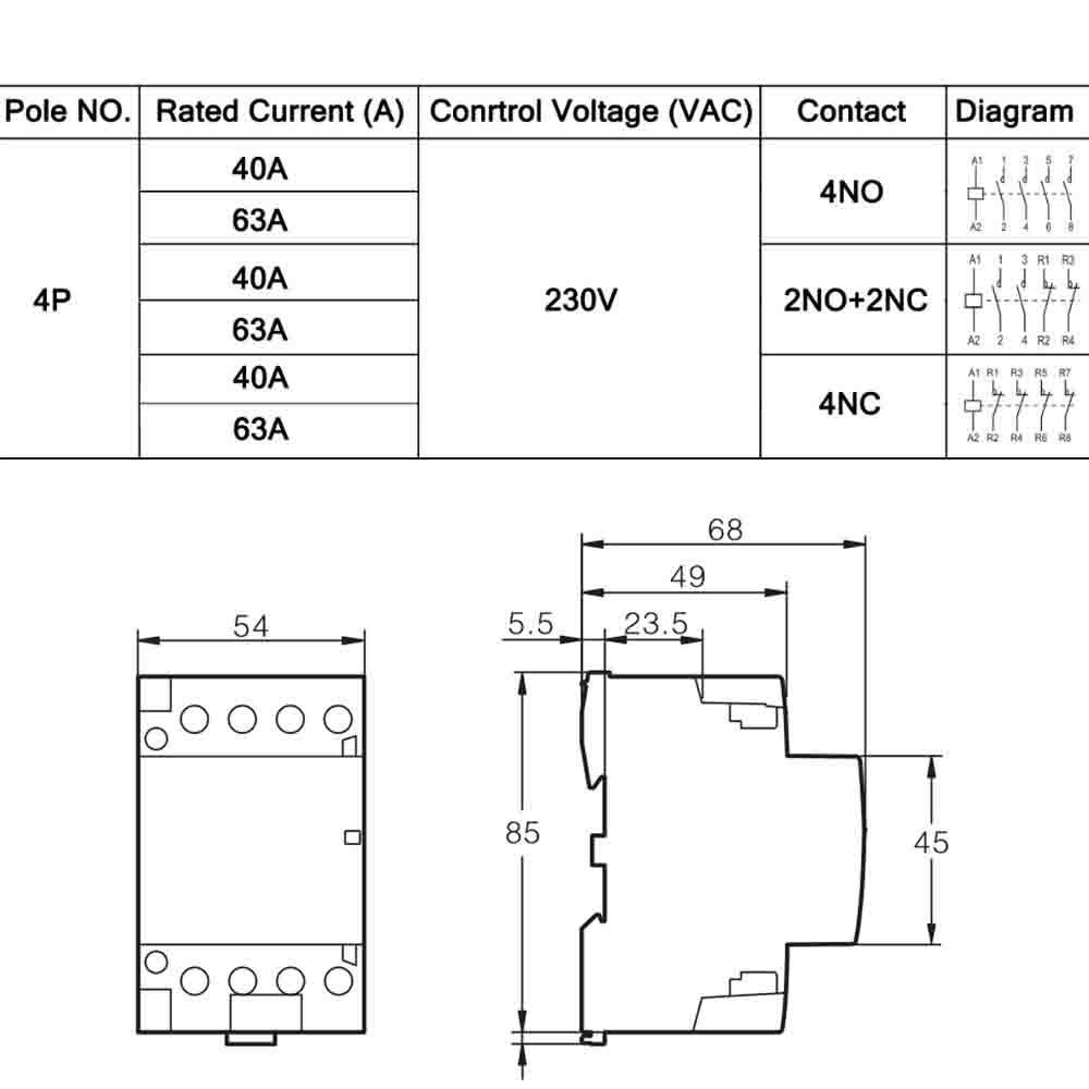 2NO 4NC DIN 230V 50 63A fonctionnement automatique AC M/énage Contacteur 220V 60Hz contact 4NO OCT-63 s/érie 4P 40A 40A, 2NO2NC 2NC