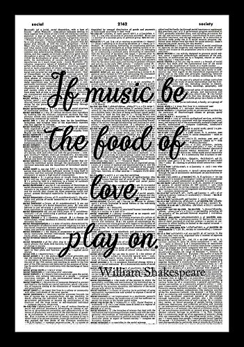 128 buyloii Shakespeare Quote Art Print-Music Art Print-Kitchen Art Print-Vintage Art Print-Inspirational Quote Art Print-Picture-Vintage Dictionary Art Print-Wall Hanging-Book Print 14x11 ()
