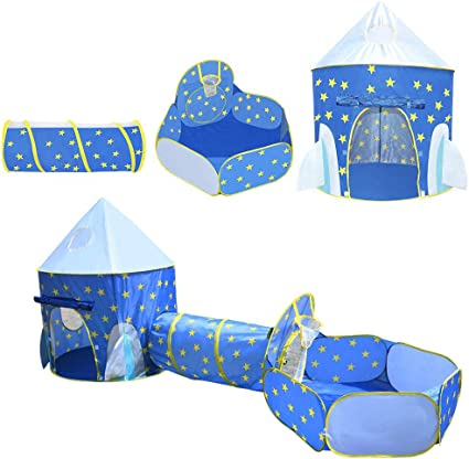 3 in 1 Kids Play Tent Toddler Tunnel Play Set Balls Pit Pop Up Cubby Playhouse