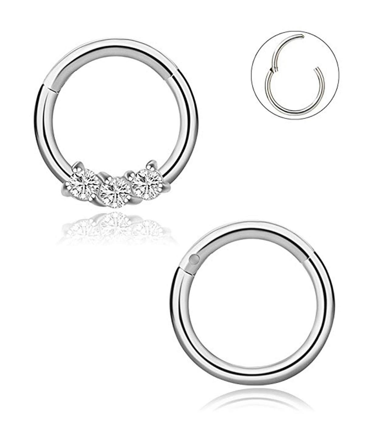 YOVORO 16G 2PCS 316L Stainless Steel Nose Rings Hoop Septum Clicker Ring Cartilage Tragus Piercing 8MM SI by YOVORO
