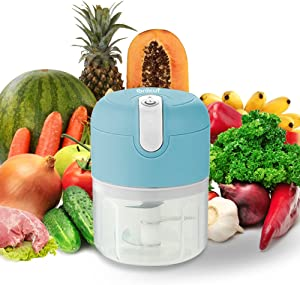 Electric Small Food Chopper,USB Mini Food Processor For Baby Food,Chopping Fruits &Vegetables & Meat,BPA-Free,250ML,Sky-Blue,Rechargeable,Portable,Wireless-Onlicuf