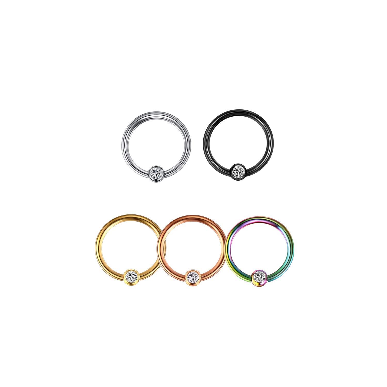 1Pc Piercings Gem Closure Lip Eyebrow Nose Ring Crystal Daith Rook Ear Septum Piercings,Black,1.2X12X3Mm