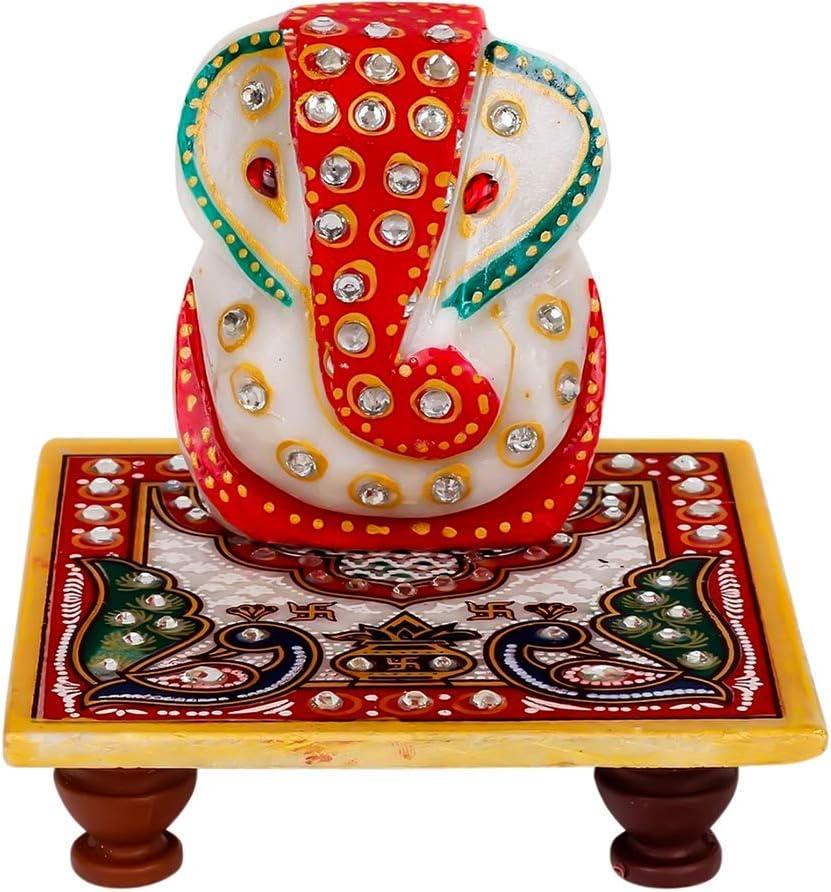 Yahvi Beautiful Colored & Gold Marble Statue of Lord Ganesh Ganpati Elephant Hindu God with Chowki Made from Marble Powder in India (Peacock chowki Design)