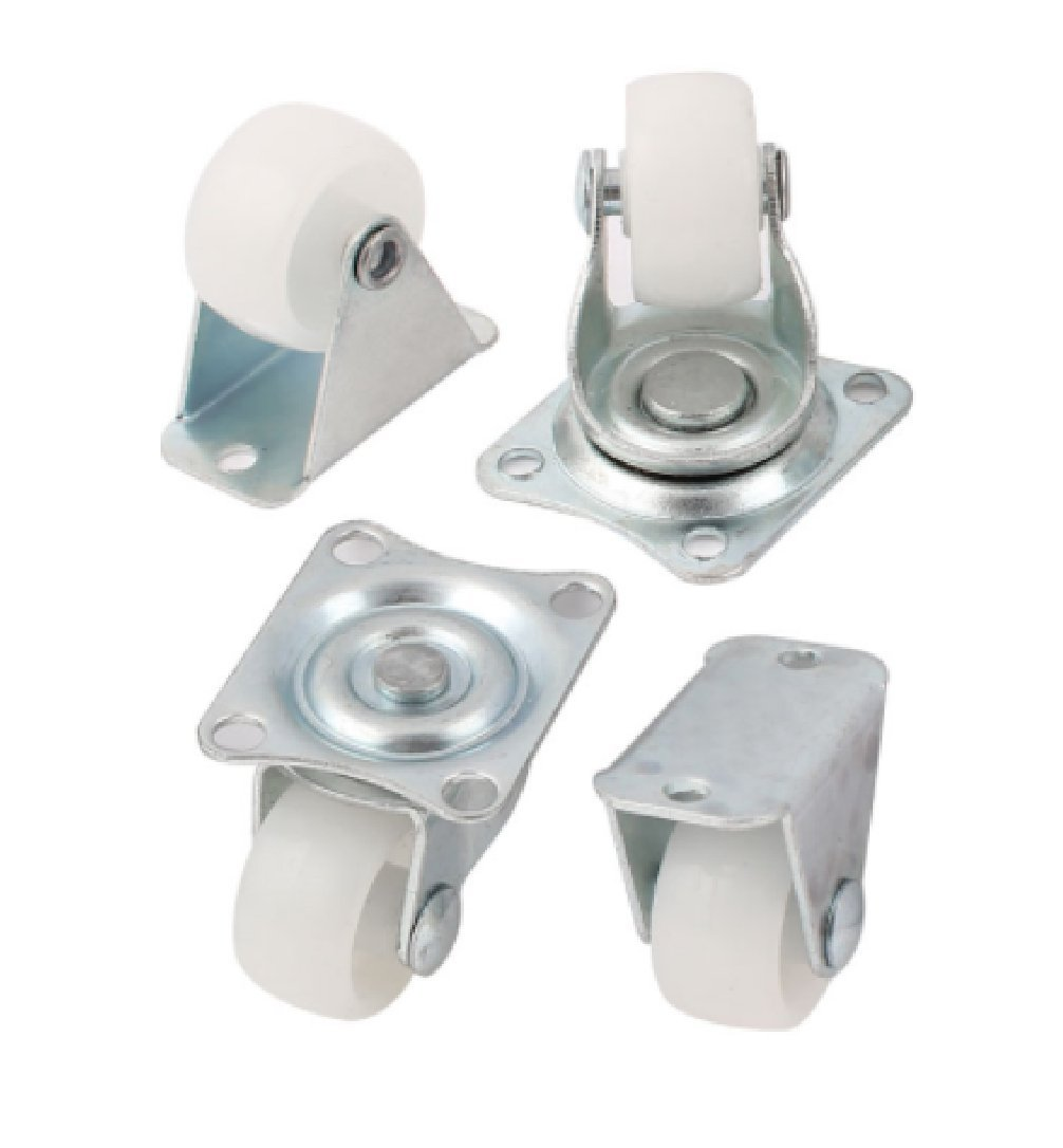 Qty. 4 x 32mm Nylon Swivel & Fixed Castors - Furniture, Appliance & Equipment Small wheels by Bulldog Castors - Max 65Kg per Set