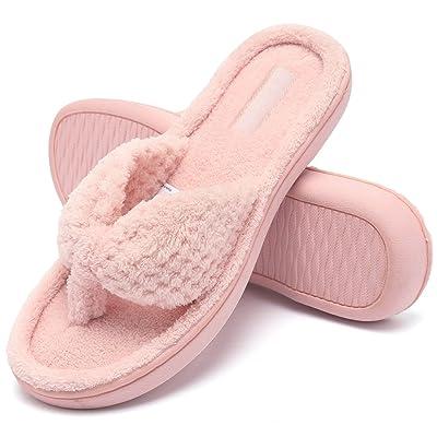 Amazon.com   CIOR Fantiny Women's Cozy Memory Foam Spa Thong Flip Flops House Indoor Slippers Plush Gridding Velvet Lining Clog Style-U1MTW017-Pink-40-41   Slippers