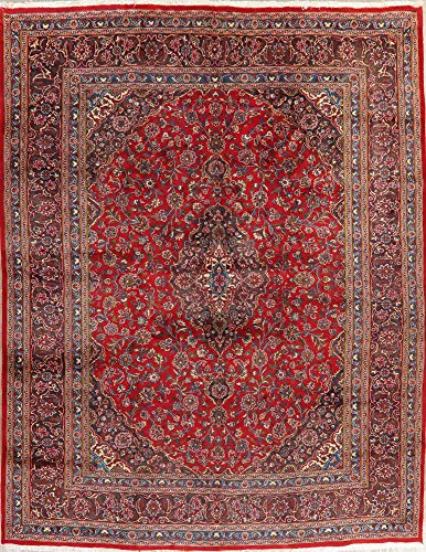 - Mashad Persian Vintage 10X13 Floral Red Oriental Area Rug Hand-Knotted Wool Carpet