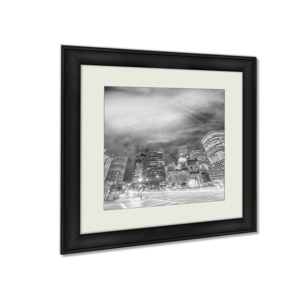 Ashley Framed Prints Boston Ma Beautiful Night Skyline On A Autumn Evening, Wall Art Home Decor, Black/White, 30x30 (frame size), AG6335485