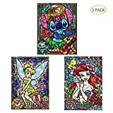 5D Full Drill Diamond Painting Kit,Hartop DIY Crystal Diamond Rhinestone Painting Kits for Adults and Beginner,Embroidery Arts Craft Home Decor 12 x 16 Inch(3 Pack of Princess Mermaid Stitch)