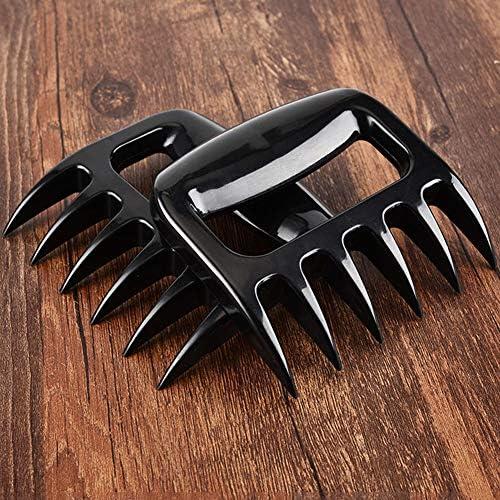 LLEH Viande Griffes, Ours Griffes pour déchiqueter la Viande Barbecue Viande Claw Forks pour la Sculpture, manutention, Levage - Noir - 2Pcs