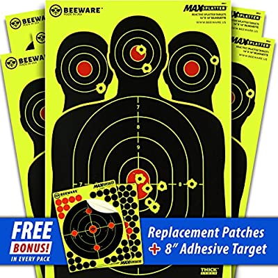 BEEWARE Targets (THICKER - BRIGHTER - BETTER) 12x18 Silhouette Fluorescent Reactive Splatter Targets