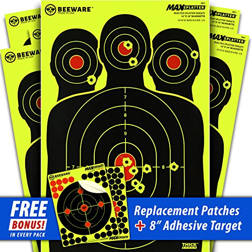 BEEWARE Targets (THICKER - BRIGHTER - BETTER) 12x18 Silhouette Fluorescent Reactive Splatter Targets for Shooting Indoor/Outdoor Ranges practice all gun - rifle calibers even .22, Pellet, BB, Airsoft