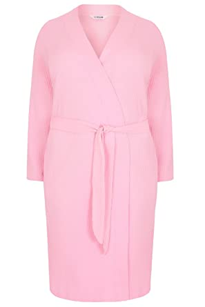 fa0a3bad924 Yours Clothing Women s Plus Size Textured Cotton Dressing Gown with Pockets  Size 38-40 Pink