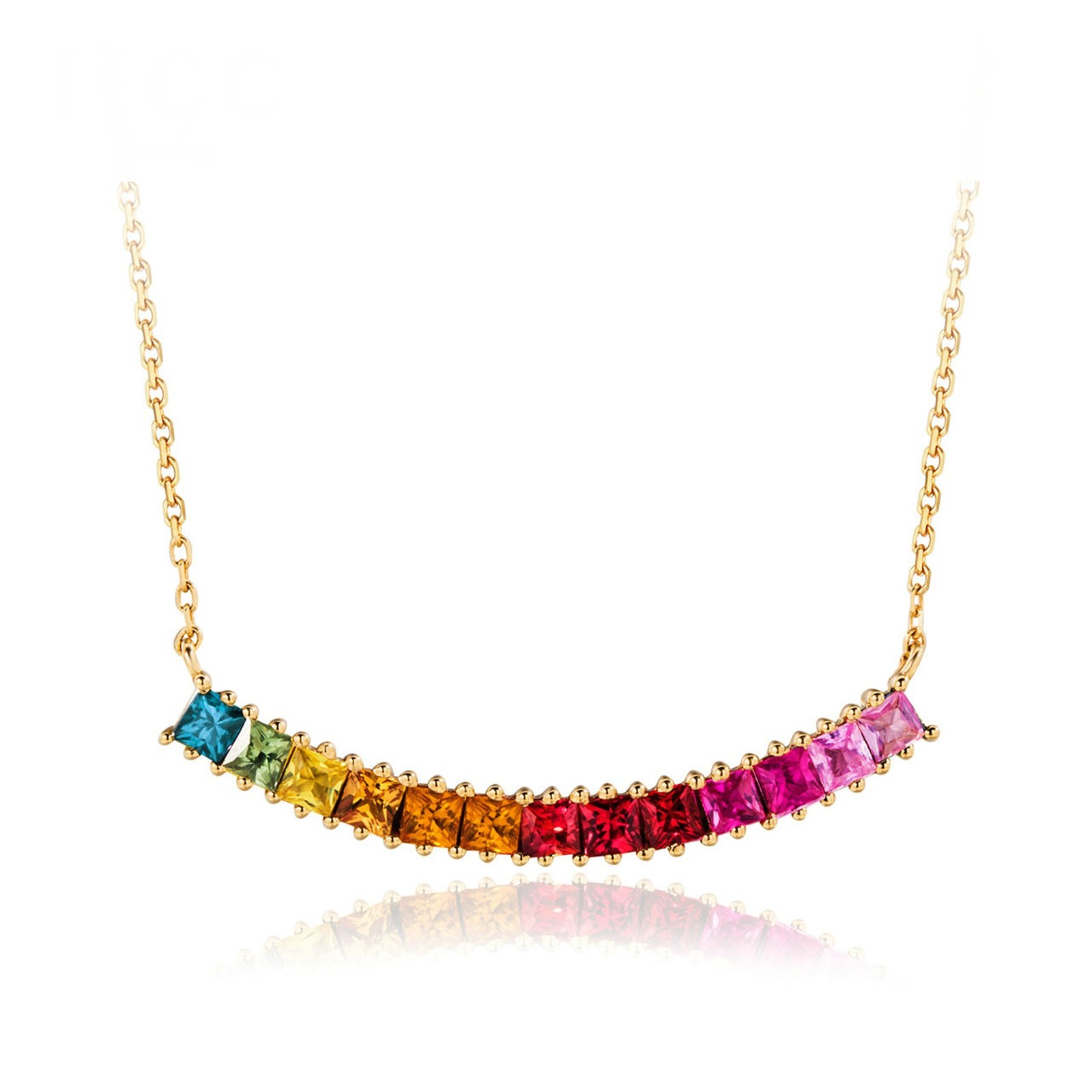 Daesar 18K Gold Necklace For Women CZ Natural Gemstone Square Tourmaline Pink Pendant Chain Length:40CM