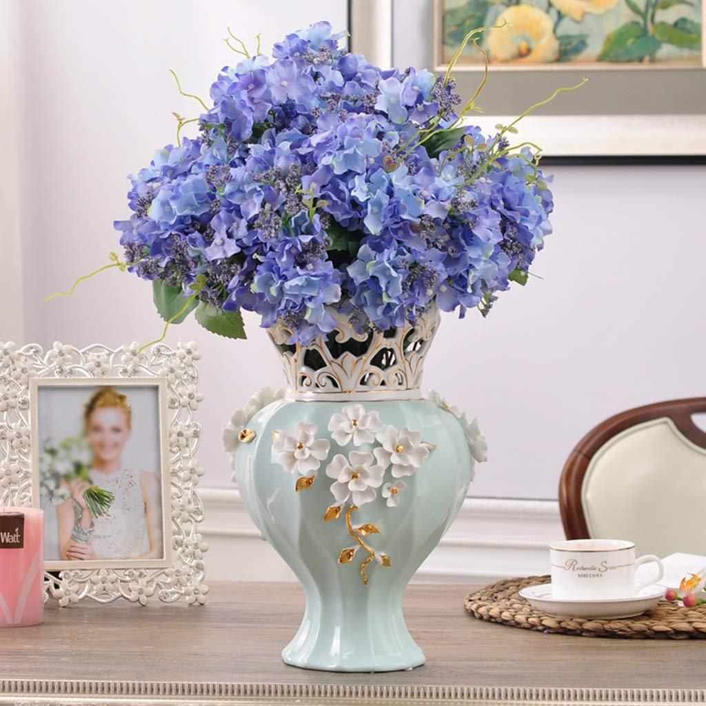ギフト花瓶、家の装飾セラミックスデスクトップオフィスリビングルーム寝室テレビキャビネットドライフラワー家庭用ベッドサイドテーブル花瓶 (色 : 緑) B07QKBSDQZ 緑
