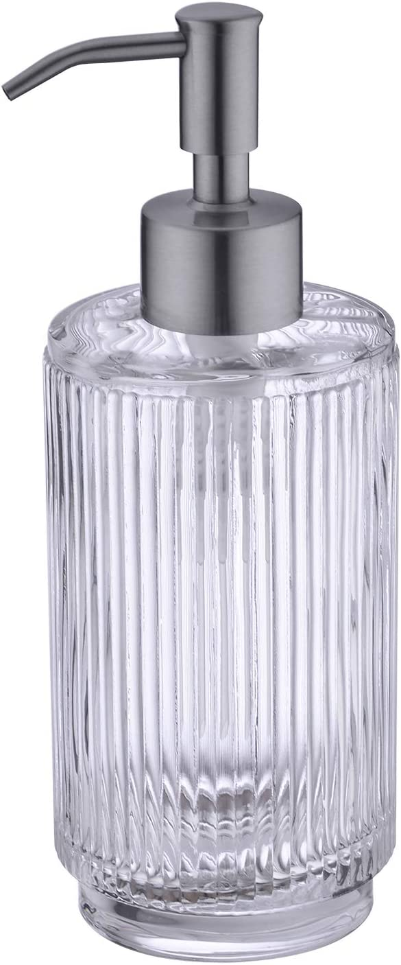 Avola Hand Soap Dispenser,Vertical Striped Dish Soap Dispenser, Refillable Gass Soap Dispenser,Liquid Soap Dispenser with 304 Rust Proof Stainless Steel Pump for Bathroom, Kitchen