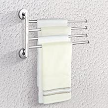 TOPINCN Swivel Towel Bar,304 Stainless Steel Bathroom Kitchen Wall Mount 4-Arm Swing Out Folding Multiple Towel Rack Hanger Organizer,Space Saving,Polished Chrome