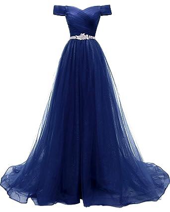 das Neueste 926f2 a2f66 RJOAMEUDRESS Schulterfrei Abendkleider Tüll Prinzessin Lange Party  Ballkleider mit Gürtel 2018