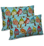 RADANYA Bird Printed Polyester Pillow Cover Set Living Room Sofa Case - Sky Blue,12x18 Inch