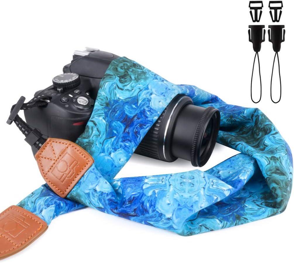 Elvam Universal Men and Women Scarf Camera Strap Belt Compatible with DSLR, SLR, Instant,Digital Camera - Abstract Blue Pattern