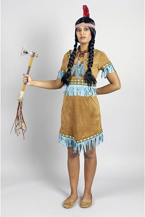 Generique Disfraz india con flecos turquesa mujer S: Amazon.es ...