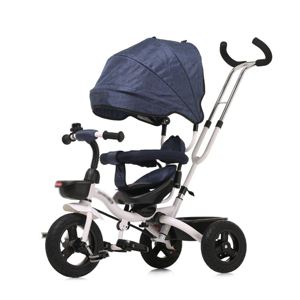 HAIZHEN マウンテンバイク 4-in-1子供用三輪車、高品質のトロリー自転車キッズは、親ハンドルとアンチUV日除け付きの赤ちゃん用3輪自転車用トライクをプッシュします 新生児 B07C6WVP8Q 青 青