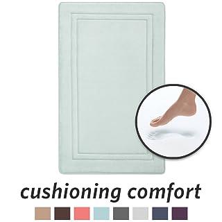 Microdry 10886 Quick Drying Memory Foam Bath mat GripTex Skid-Resistant Base, 21 x 34, Seaglass