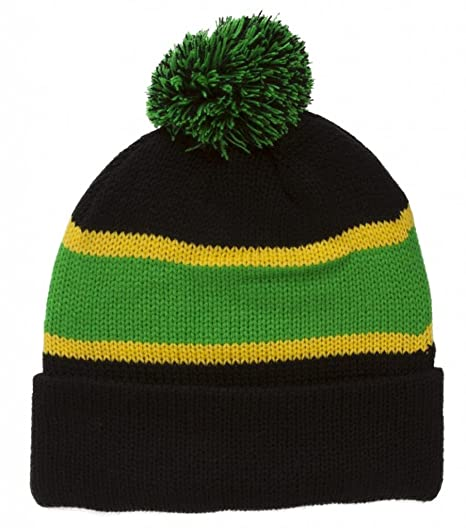 TOP HEADWEAR Winter Striped Beanie with Pom - Black Green at Amazon ... b8845aef621