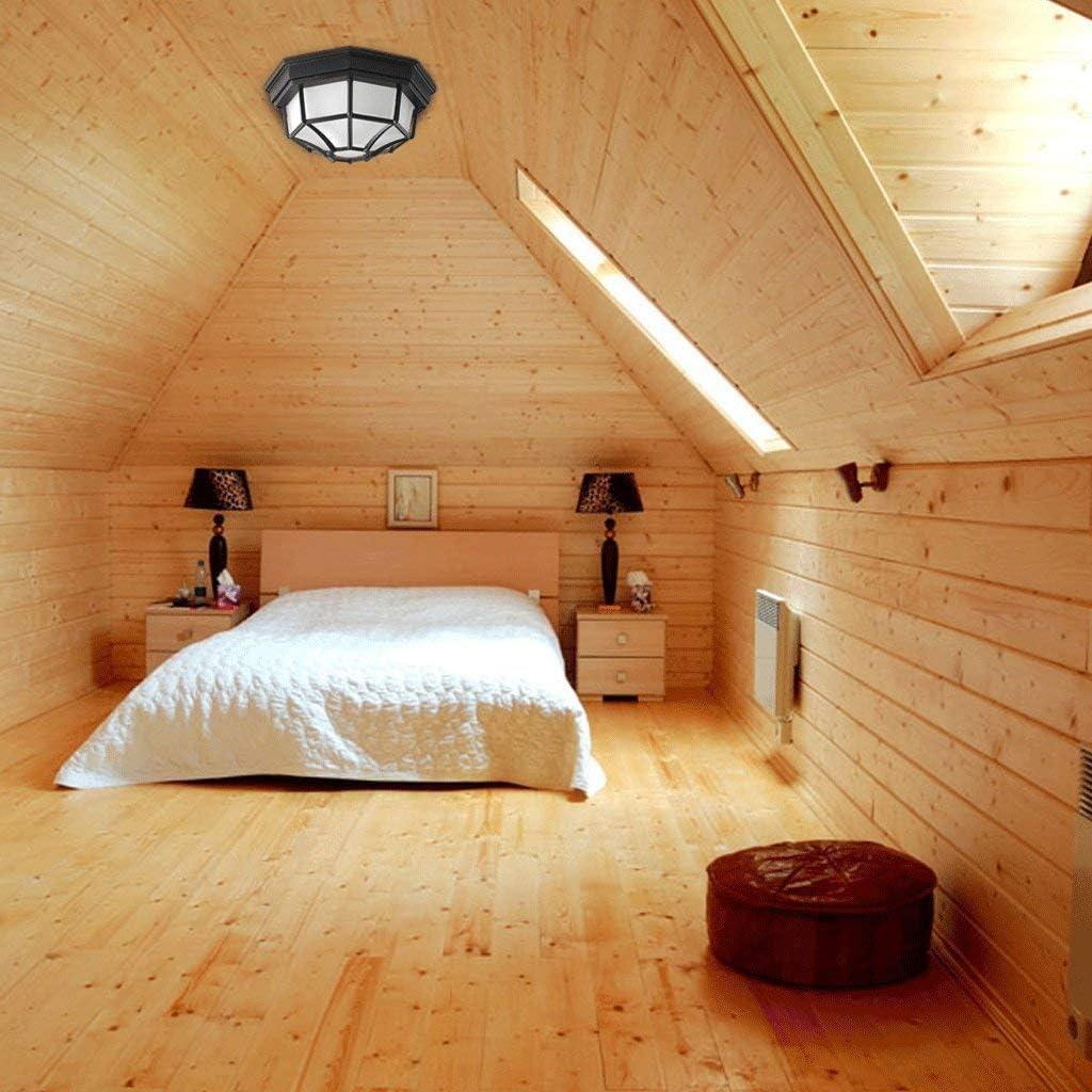 ASSE Colgantes blancos se enciende la lámpara de techo de aluminio dampproof hexagonal en 6 caras Negro IP44 Flush Porche/de pared exterior o techo linterna Baño Luz/Iluminación: Amazon.es: Hogar