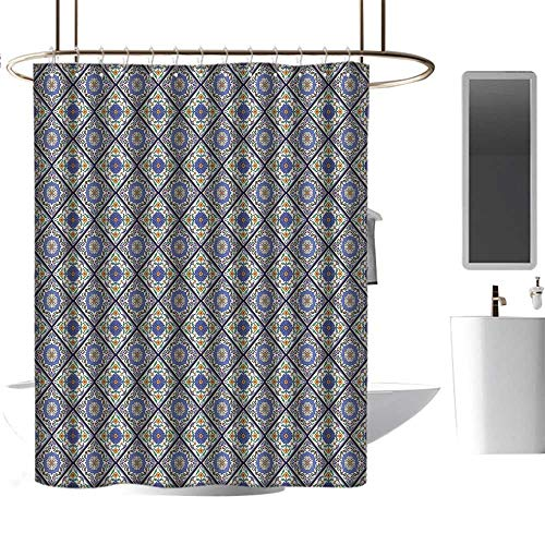 TimBeve Fabric Shower Curtain for Bathroom Geometric,Classical Plant Arrangement Moroccan Ornamental Flower Pattern African Culture,Multicolor,Machine Washable - Shower Hooks are Included 72