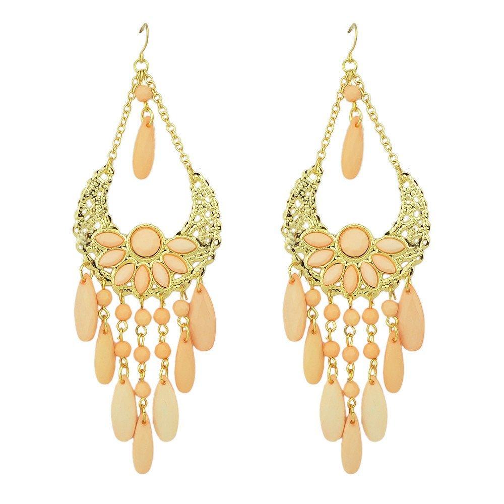 Feelontop® New Style Fashion Chandelier Pink Beads Tassel Chain Drop Earrings With Jewelry Pouch FJ-ER-7225-black