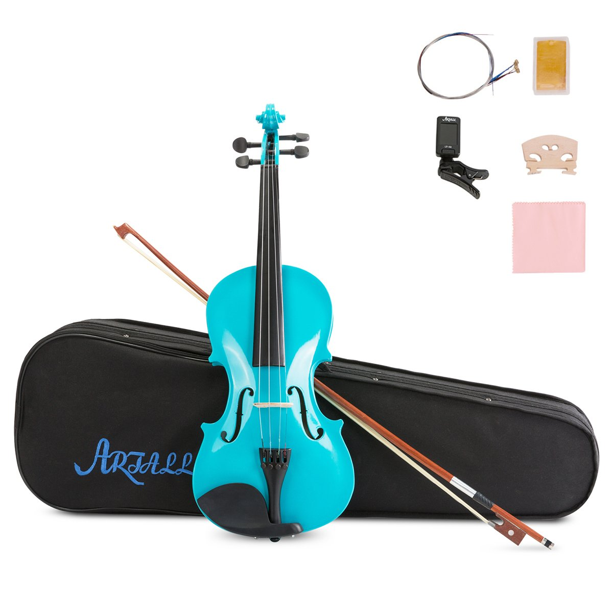 ARTALL 4/4 Handmade Student Acoustic Violin Beginner Pack with Bow, Hard Case, Chin Rest, Tuner, Spare Strings, Rosin and Bridge, Glossy Blue