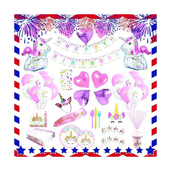 Unicorn Party Supplies set - 238 PCS - 18 Serves | Unicorn Decoration | Tableware | Favors | Balloons | Free Bonus 3
