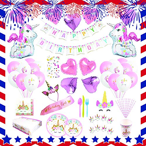 Unicorn Party Supplies set - 238 PCS - 18 Serves | Unicorn Decoration | Tableware | Favors | Balloons | Free Bonus]()