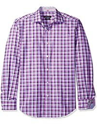 BUGATCHI Men's Dunmore Long Sleeve Digital Check Button...