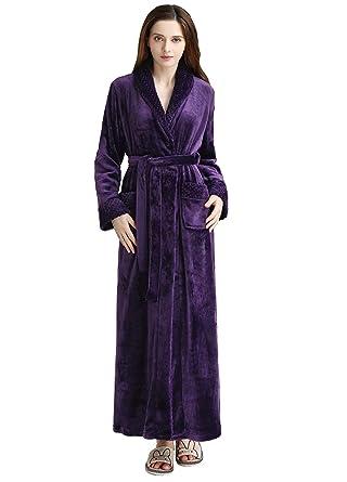 22d4513fabf2 Womens Long Fleece Robes Luxurious Plush Bathrobe Full Length Pajamas  Sleepwear Purple