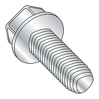 25 mm Length Metric M4-0.7 Thread Size Pack of 100 Zinc Plated Steel Thread Rolling Screw for Metal Hex Washer Head