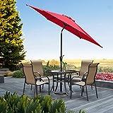 9′ Patio Outdoor Market Umbrella with Aluminum Auto Tilt and Crank (Red)