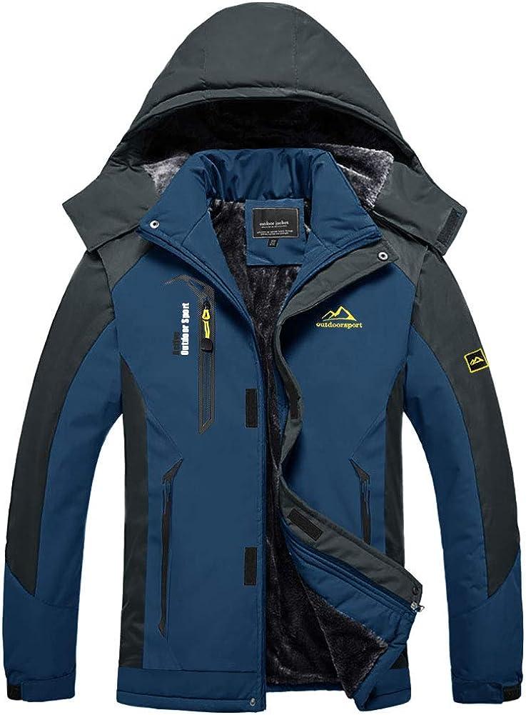 BIYLACLESEN Men's Winter Coats Fleece Lined Ski Jacket Warm Windbreaker Parka: Clothing