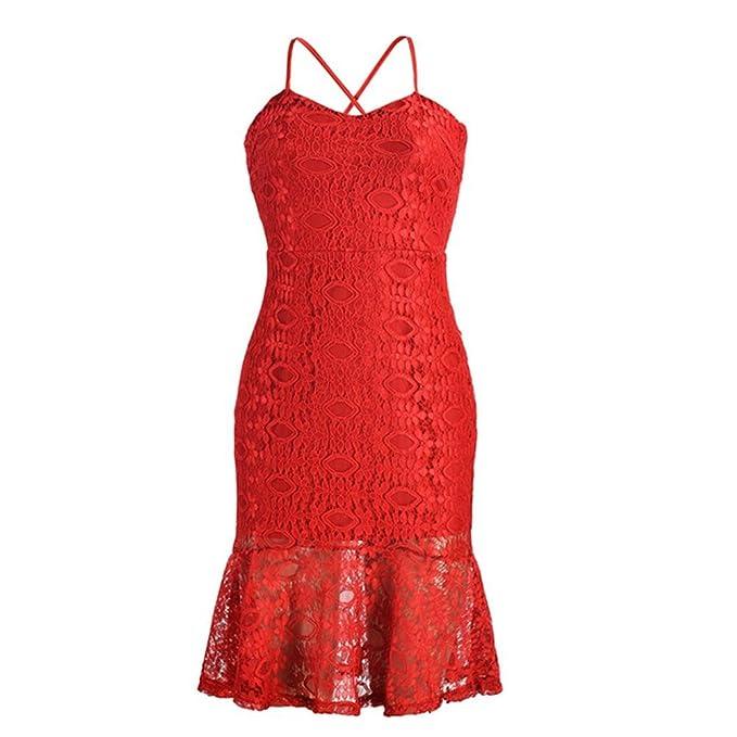 Temperamento Volante fruncido Vestidos de cola de pescado Para Mujeres Espalda Vendaje Sin Mangas Midi vestidos de Noche: Amazon.es: Ropa y accesorios