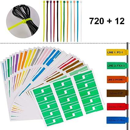 Marvelous Amazon Com 720 Pcs Self Adhesive Cable Label Tags 12 Colors Wiring Digital Resources Inamasemecshebarightsorg