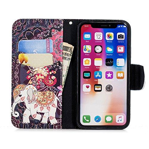 XS Homme Portefeuille Motif Rabat XS Coque Cuir iPhone X Etui iPhone Femme pour à Herbests X iPhone avec en Coque iPhone iPhone iPhone 1 Éléphant X de Housse Protection Protection Port de Etui pour XS Fille Étui qwZUIxwf