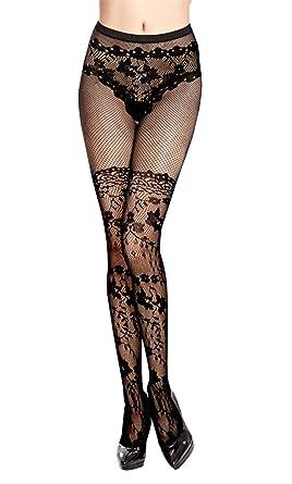 Collant Resille Noir Motif Bas Culotte Floral 662dee92d61