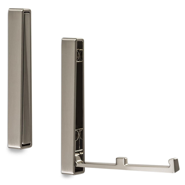 SO-TECH/® BARI Juego de 2 ganchos plegables 80 x 20 x 15 mm, aspecto de acero inoxidable