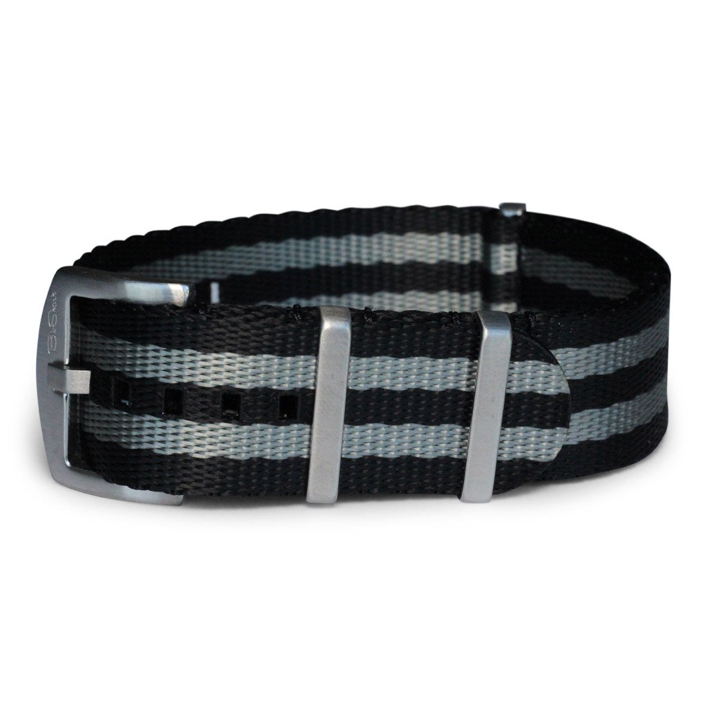 AlphaShark by BluShark Luxury Seat Belt Nylon Watch Strap - 22mm Bond Black/Gray by BluShark (Image #2)