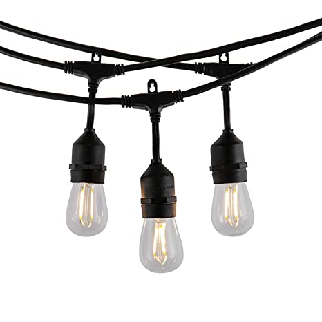 Modvera Outdoor String Light 48FT With 15 Sockets And LED 2W S14 Bulbs, UL  Listed