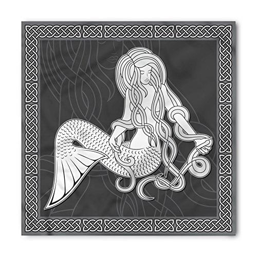 Ambesonne Mermaid Bandana, Retro Celtic Borders, Unisex Head and Neck Tie