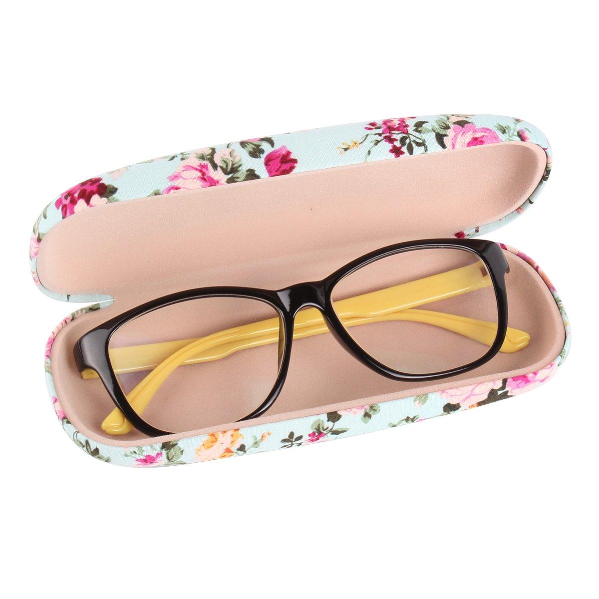 EZESO Fabrics Floral Retro Light Portable Eyeglasses Case (2 pcs blue+pink) by Ezeso (Image #2)