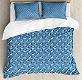 Ambesonne Bulldog Queen Size Duvet Cover Set, Abstract and Hipster French Bulldog Heads Funny Puppy Pattern Kids Design, Decorative 3 Piece Bedding Set with 2 Pillow Shams, Blue Black and White