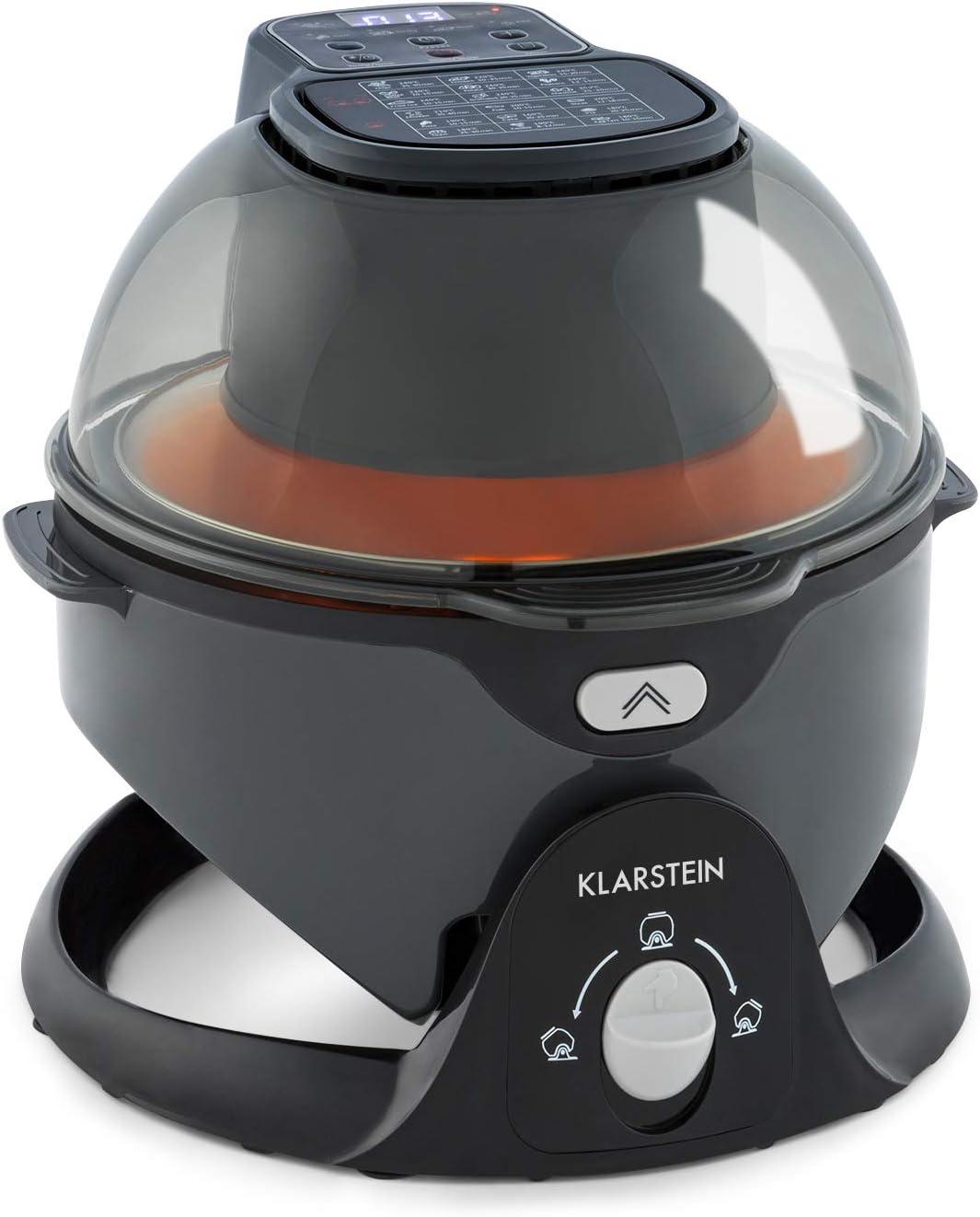 Klarstein VitAir Pommesmaster freidora de aire caliente - 1400 W, de 50-240 °C, sistema de rotación, cocinado a 360°, panel digital, programable hasta 60 min, fuente de calor de carbono, negro: Amazon.es: Hogar