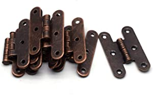 """Antrader Heavy Duty Hammered Cabinet Hinge, 2.1"""" x 1.4"""" Offset Colonial Copper Hinge, 10 Pack"""